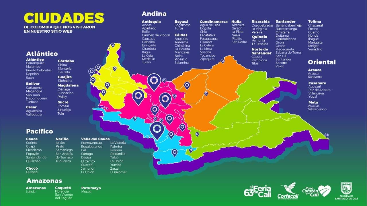 ciudades alcanzadas 63 feria de cali